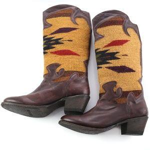 Stetson Leather & Wool Serape Southwest Boots